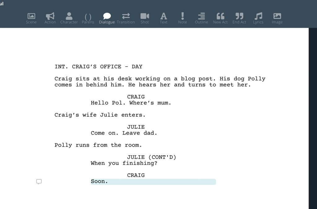 Screenwriting software formatted